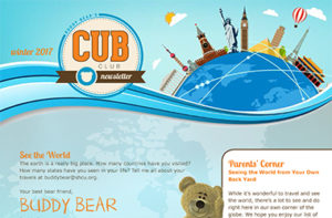 snapshot of top of kids cub club winter 17 newsletter
